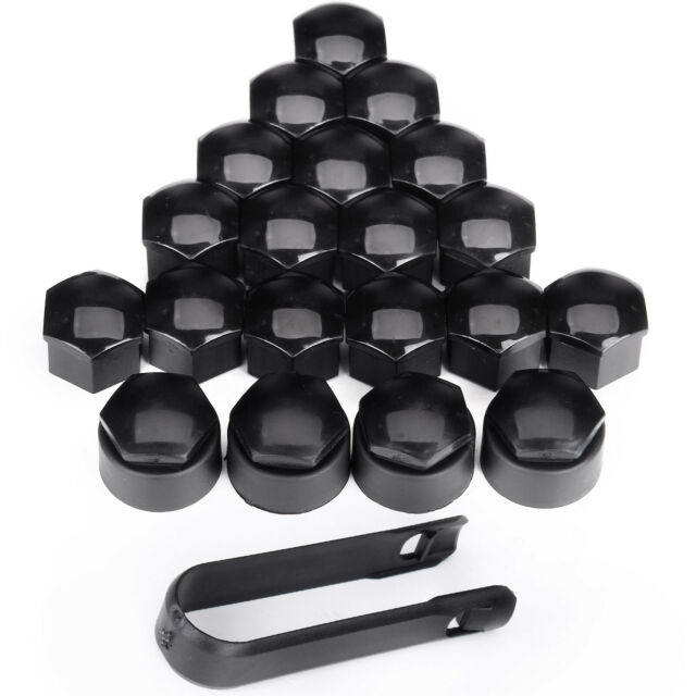 Set of 20Pcs 19mm Black Wheel Nut Bolt Covers Caps for Any Car Locking