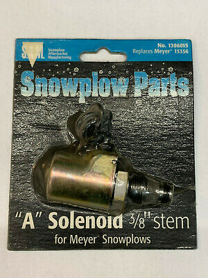 "New Snow Plow 3//8/"" SOLENOID COIL /& VALVE /""A/"" Black Wire for Diamond Meyer 15356"