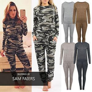 Womens-Tracksuit-Ladies-Top-amp-Bottoms-Set-Camoflage-Plus-Size-Onezee-Suit-Pjs