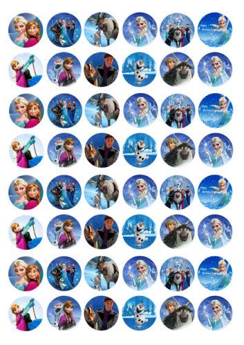 48 x Disney Frozen Anna Elsa Cupcake TOPPERS PAPIER DE GAUFRETTE comestibles