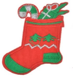 Red Christmas Stocking Iron On Patch- Xmas Embroidered Glitter Stitch 8.1x5.7cm