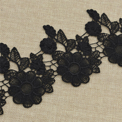 2yards 8.5cm Black Lace Flower Design Trimming Clothing Sewing Dress Decoration