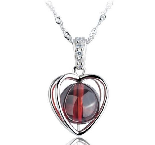 """925 Sterling Silver Natural Garnet Red Heart Pendant Necklace 18/"""" Gift Box D9"""