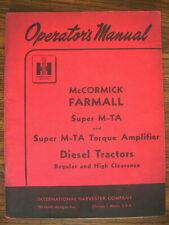 Ih Farmall Mccormick International Super Mta Diesel Owners Manual