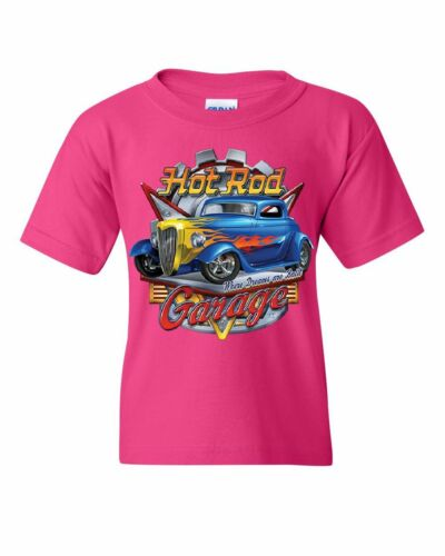 Hot Rod Garage Youth T-Shirt Where Dreams are Built US Classic Rebuild Kids Tee