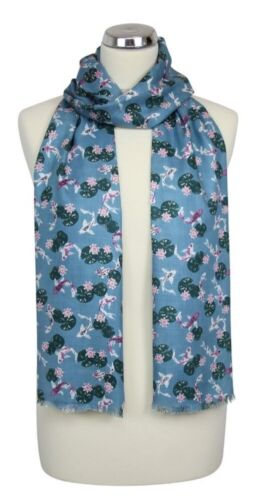 Peony Scarves Blue Koi Carp Fish Fishes Scarf Ladies Womens Gift Summer Holiday