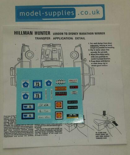 Corgi 302 Hillman Hunter London-Sydney Rallye Repro Transfer Set /& Instructions