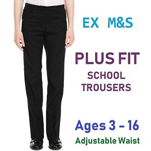 0ab04d9d EX M&S Plus Fit Girls School Trousers Slim Leg Black School Uniform ...
