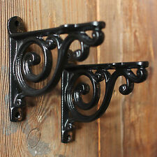 "Pair of BLACK 4"" SMALL ANTIQUE VINTAGE CAST IRON VICTORIAN SHELF WALL BRACKETS"