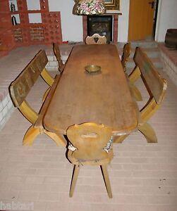 1 langer wirtshaus tisch aus eichenholz 2 sitz b nke im bauernstil massivholz ebay. Black Bedroom Furniture Sets. Home Design Ideas
