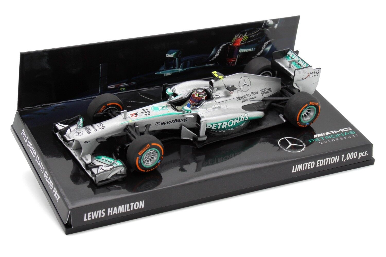 1 43 43 43 Minichamps Lewis Hamilton Mercedes AMG Petronas F1 W04 2013 USA GP F1 2018 e1d6f1