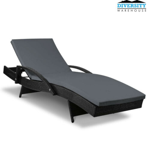 Gardeon Outdoor Sun Lounge Black