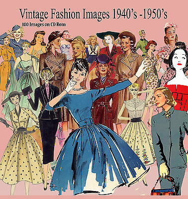 100 x Vintage 40' 50's  Fashion Images Women  on CD