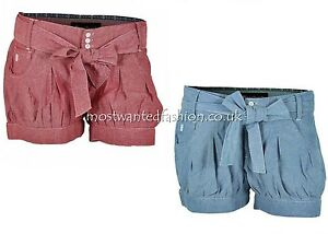 Fenchurch-Madeline-Chambray-Denim-Shorts-Womens-Young-Ladies-Size-UK-6-10-New
