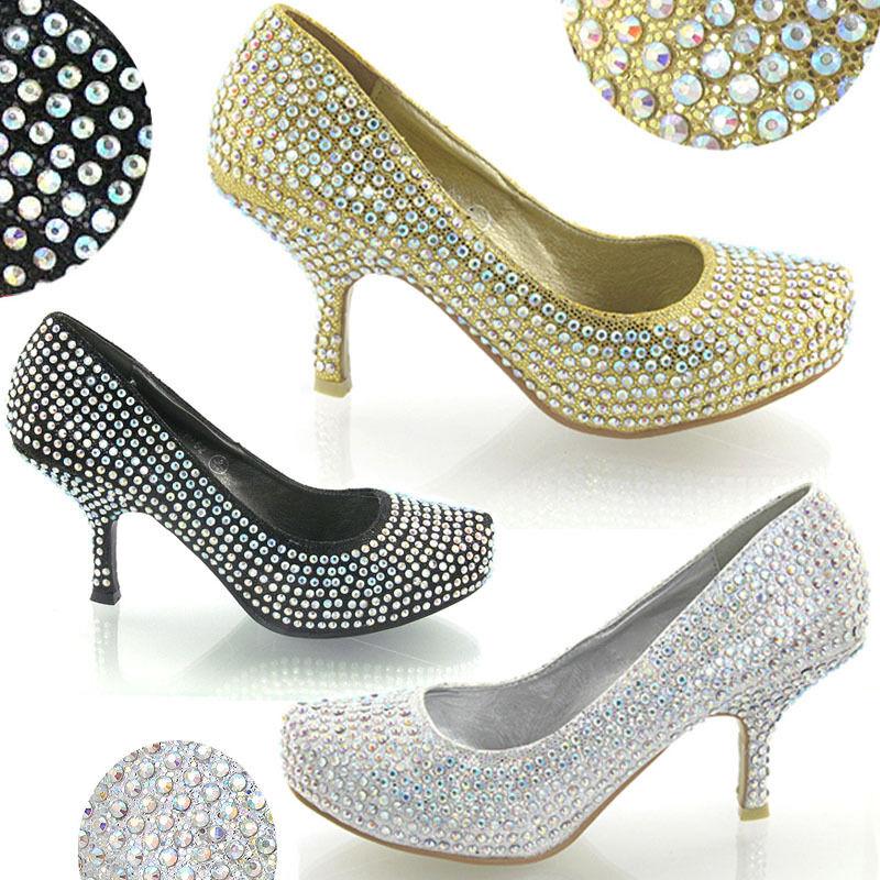 Womens Glitter Diamante Kitten Mid Platform Bridal Wedding Prom Party Shoe 3-8