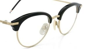31c15310fd23 THOM BROWNE TB 706 BLACK-SHINY 12K GOLD CLEAR EYEGLASSES 47 145