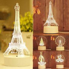 New 3D Night Light LED Desk Bedroom Illusion Xmas Decor Tower Tree Love Lamp