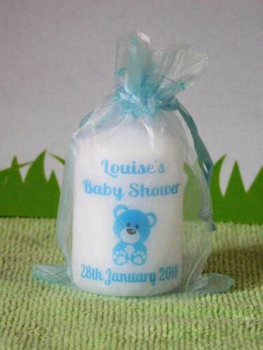 Personalised Baby Shower Favour Candle With Cute Teddy 6cm x 4cm Set 10