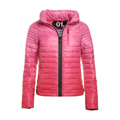 New Womens Superdry Power Fade Jacket Hazard Pink