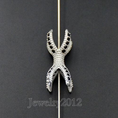 Noir Zircon Pierres Micro Pave Eagle Claw Bracelet Connecteur Charm Zircon Perles