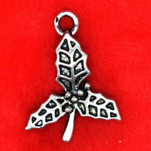 6 x Tibetan Silver Xmas Christmas Holly Charm Pendant Finding Beading Making