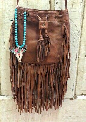 Scully Soft Brown Leather Fringe Handbag B184