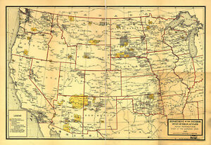 1921 Map Of Indian Reservations West Of The Mississippi River Native - Map-of-reservations-in-us