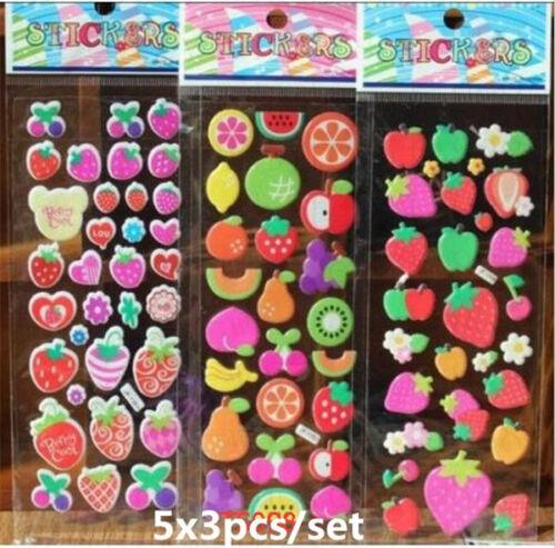 3pcs 3D fruit Scrapbooking/&Paper Crafts stickers lot-kids favor party gift