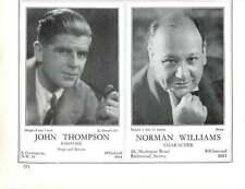 1936, Actors, Derek Oldham, Tenor, John Thompson, Norman Williams