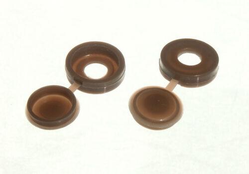 Boîte de 100 Vis Tasse couvercle et bouchon marron foncé