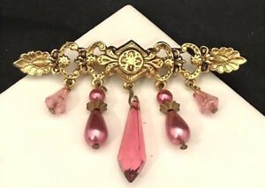 Vintage-Pin-Brooch-Antiqued-Gold-Tone-Pink-Accents-Faux-Pearls-Classic-Gift-6D