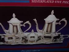 W.M.RODGER SILVERPLATED COFFEE SET AND TEA 5 PIECE SETTING NIB YR. 2000
