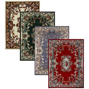 Oriental-Floral-Border-Medallion-Area-Rug-Scrolls-Traditional-Persien-Carpet