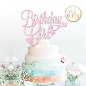 Birthday Girl Topper Happy Glitter 1 2 3 4 5 6 7 Baby Pink Hearts