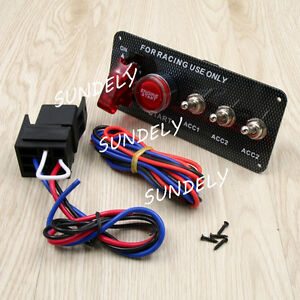 HOT Racing Car 12V Ignition Switch Engine Start Push Button 3 Toggle