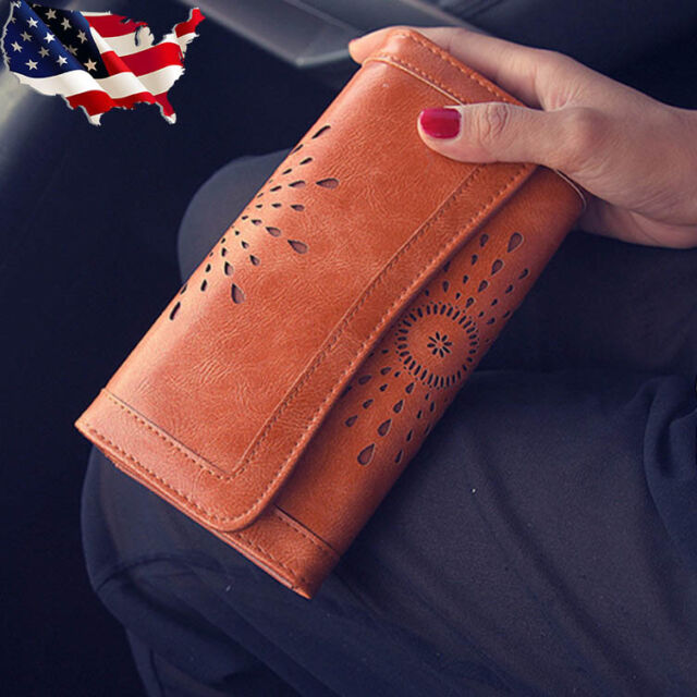 Womens Hollow Out Genuine Leather Clutch Long Wallet Card Phone Holder Purse USA