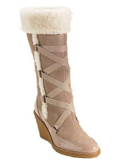 New Cole Haan Air Michelle Knit Suede Shearling Wedge Boot Boot Boot shoes Heel Beige 9.5 4230cd