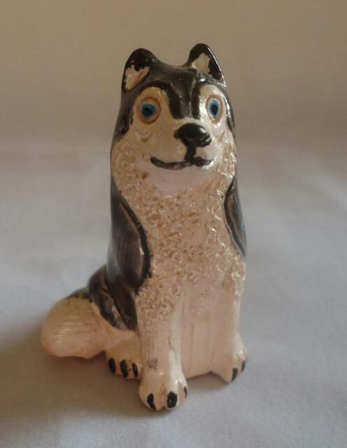 Peruvian Clay Dog Figurine Siberian Husky Puppy Peru Hand Painted Fair Trade