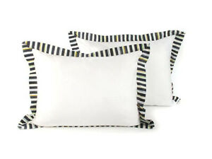 Mackenzie-Childs-COURTLY-STRIPE-Pillow-SHAMS-STANDARD-SET-OF-2-NEW-m19-n