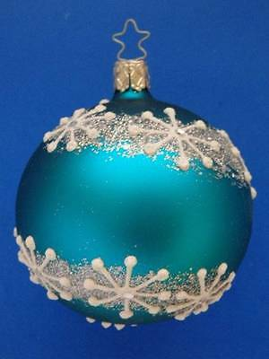 med inge glas aqua blue turquoise snowflake ball german glass christmas ornament