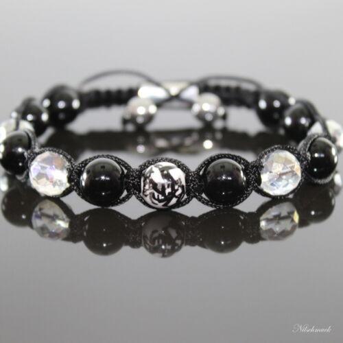 Herren Bamboo Armband Armschmuck Onyx  Edelstein-Perlen Shamballa für Männer