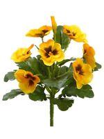 8 Pansy Bush Yellow (pack Of 12) Flower Silk Plant Bouquet Decor.