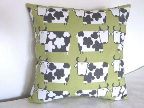 "Pistachio Green Moo Moo Cows 100/% Cotton 16/"" Cushion Cover"