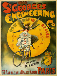 ST-GEORGE-Pierrot-Angel-Bicycle-Bike-Paris-French-Vintage-Poster-Repro-FREE-S-H