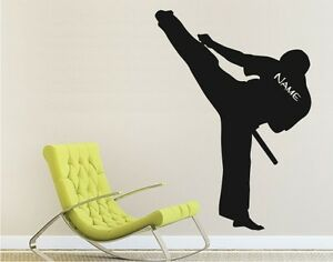 Wandtattoo-Wall-Decal-Sticker-Karate-KungFu-SPORT-Kampfsport-Kaempfer-mit-Name-05