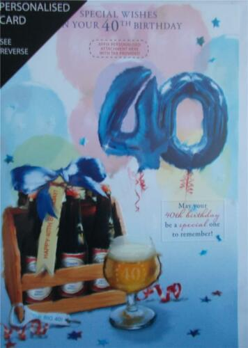 BIRTHDAY CARD  PERSONALISED MALE RELATIVES 40TH AGE CARD TOP QUALITY U025
