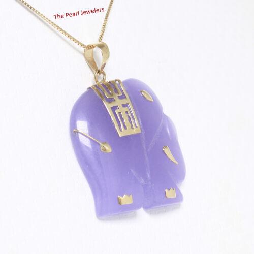 14k Yellow Gold; Hand Carved Popular Elephant Design Lavender Jade Pendant TPJ
