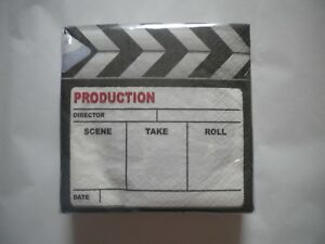 Details about 36 Creative Converting Brand Paper Cocktail Napkins MOVIE  TAKE Theme SLATE
