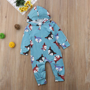 UK Toddler Baby Girls Fox Printed Romper Jumpsuit Bodysuit Outfits Clothes 0-24M