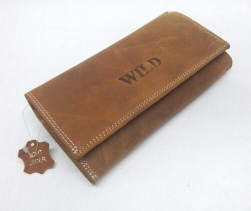 16HB Damen Geldbörse Damenbörse Portemonnaie Börse Natur Leder Wild 18 Karten